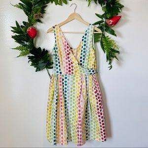 ModCloth colorful rainbow polka dot a-line dress L